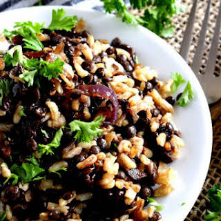 Mujadarra - Black Lentils with Brown Rice and Caramelized Red Onions.