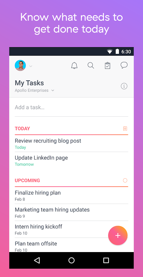 Asana: organize team projects: captura de pantalla