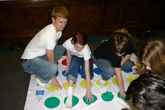 Photo: the boys play Twister