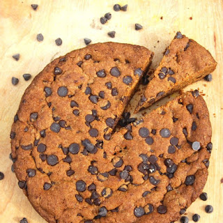 Giant Banana Chocolate Chip Skillet Cookie for a Crowd