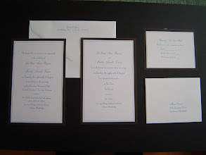 Photo: Martin and LaRissa needed both invitations and announcements. She found the black-bordered paper (with envelopes) at Michaels. Close-ups follow in the next 2 pictures.