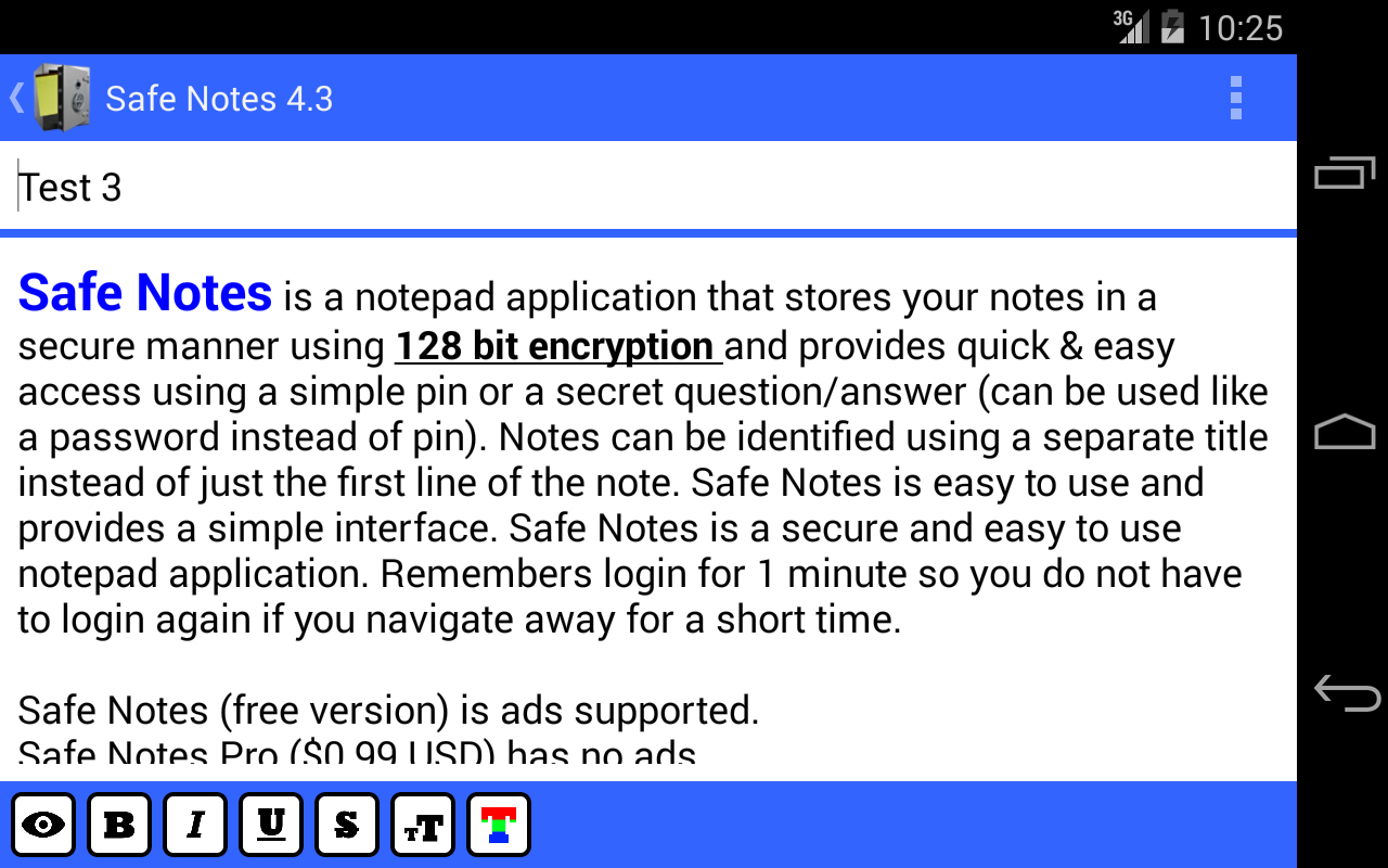 Safe Notes is a secure notepad- screenshot