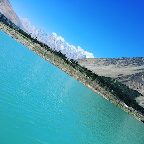 Blue lake by Zubair Chana - Nature Up Close Other Natural Objects ( blue water, blue sky, mountain, skyline, peak )