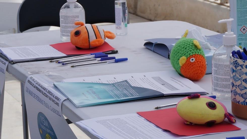 Detalle de la mesa con los diferentes peluches de peces