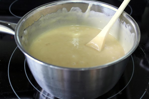 In the meantime, melt butter in a pan. Add flour and salt  make...