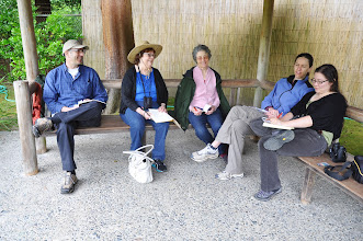 Photo: We gathered in the azumaya to write a six-person rengay together, on the theme of circles. Left to right are David Berger, Ida Frielinger, Carole Slesnick, Darcie Gurley, and Erica Howard.