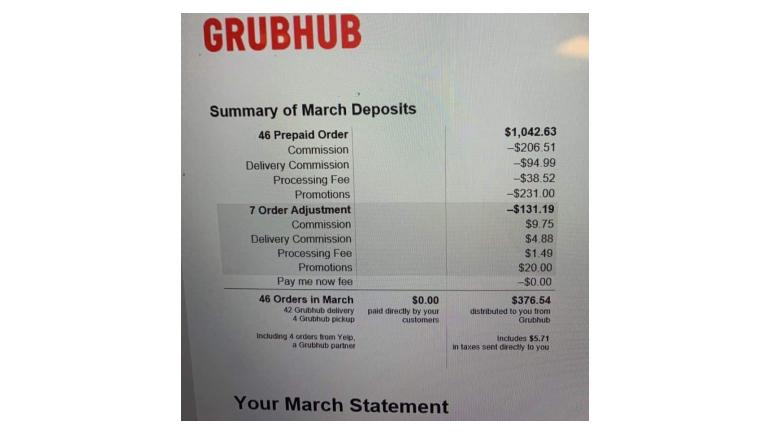 Facebook post of a Grubhub restaurant bill