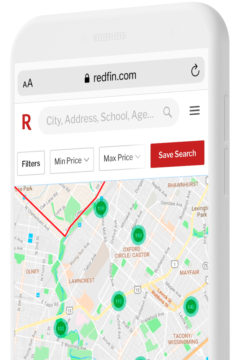 Phone with map showing real estate search results