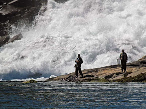 Photo: Father and Son Fishing at the Base of the Falls