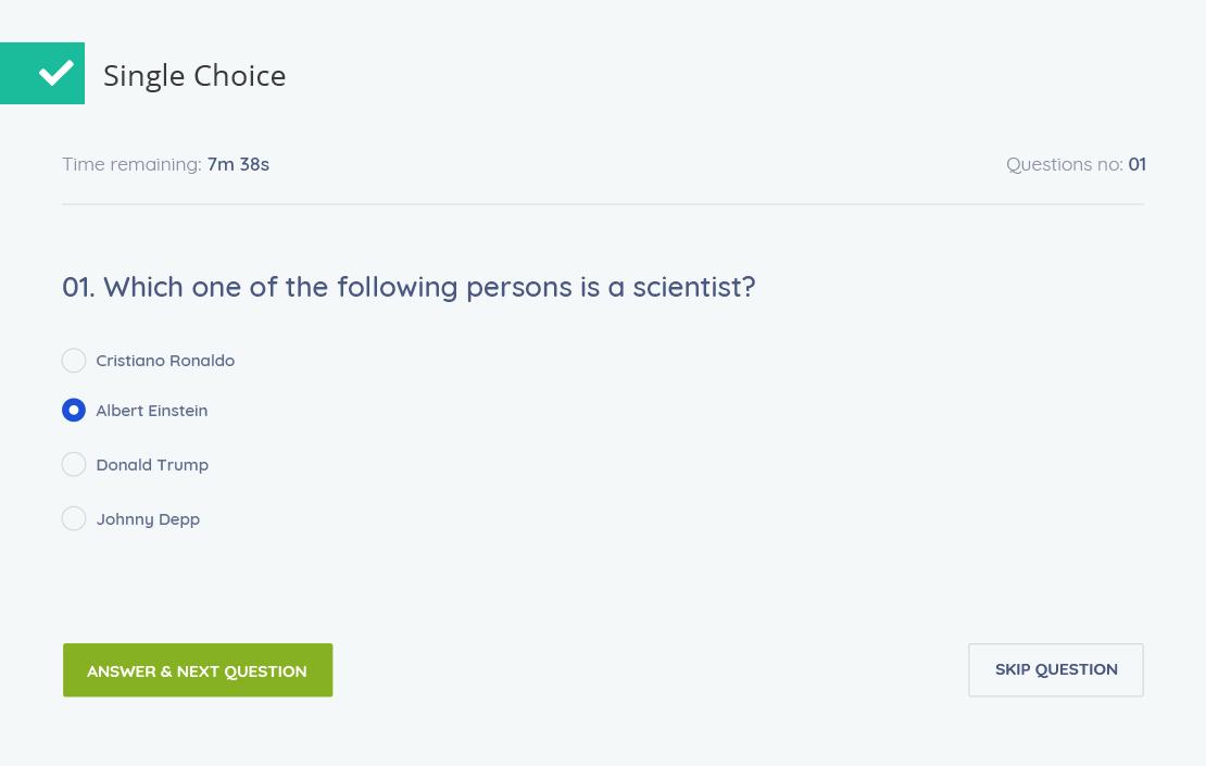 Tutor lms single choice quiz