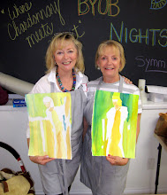 Photo: Lani Spivey and Art Buddy Becky try some negative painting techniques