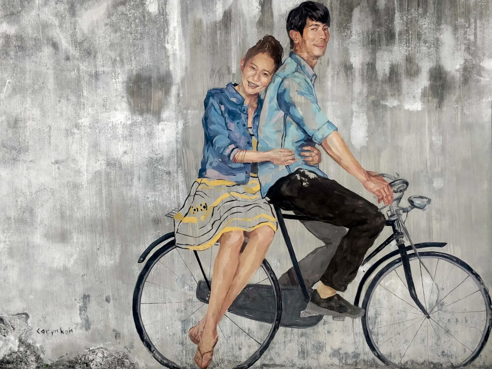 couple bicycle street art penang bicycle mural malaysia