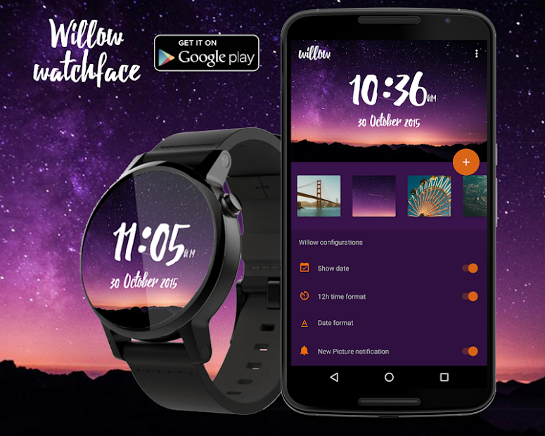 Willow - Photo Watch face Android App Screenshot