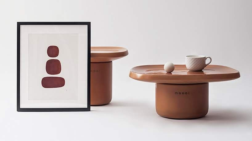 Mesas laterales hechas de terracota por Simone Bonanni diseña para Moooi