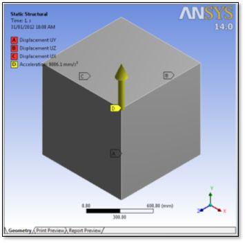 ANSYS - Модель для расчёта напряжённо-деформированного состояния при тепловом расширении с приложенной нагрузкой в виде ускорения свободного падения