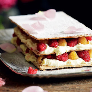 Raspberry Mille-feuille With Lemon Curd Cream And Rose Petals.