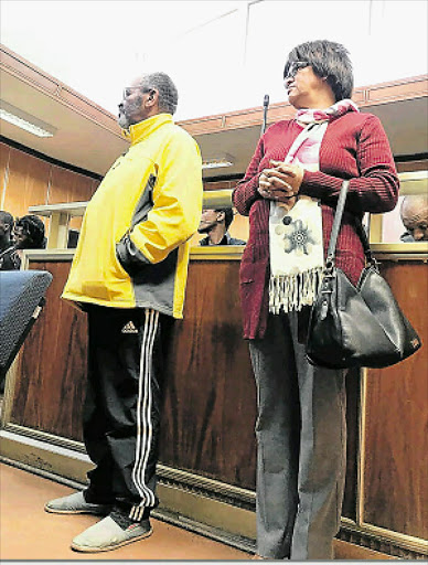CHARGED: Alleged drug kingpin Livingstone Napoleon, 60, and his wife Ingrid Napoleon, 59, in the East London Magistrate's Court yesterday. Picture: ZWANGA MUKHUTHU