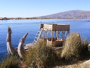 Photo: Beautiful handmade reed boat on Lake Titicaca