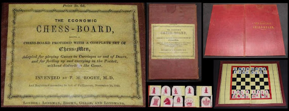 Photo: Roget's Economic Chess-Board, by Longmans, Registered under Act Of Parliament 10 Nov.1845 (not owned - set seen on eBay May 2013)  The Roget who invented this set is the same Peter Mark Roget ( 1779 - 1869) who published the 'Thesaurus of English Words and Phrases' (better known to us simply as Roget's Thesaurus) in 1852. He originally trained as a doctor of medicine, retiring in 1840. He seems to have been a keen inventor - one of his inventions was a slide rule that remained the basis for subsequent such rules used up until the calculator became commonplace (I hated them at school!) Although biographies of him are common on the web, none that I have looked at mentioned his involvement with chess.