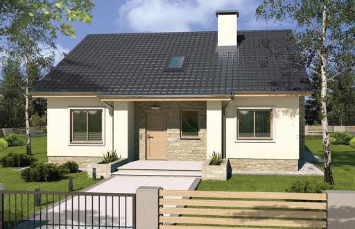 projekt Małgosia wersja A bez garażu, parterowa, z wykuszem