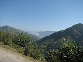 Photo: first glimpse of snow-capped peaks on the way to Uttarkashi