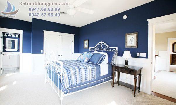 thiết kế phòng ngủ màu xanh navy