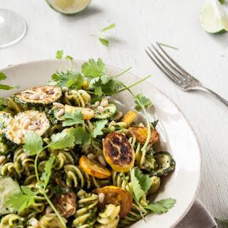 Roasted Summer Squash Pasta + Cilantro-Lime Pesto.