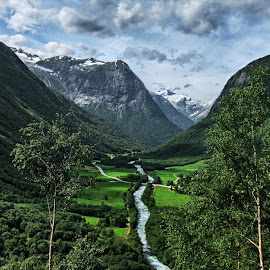 Hjelledalen, Norway by Olle Ahl - Landscapes Mountains & Hills ( mountains, grass, snow, hills, river, trees )