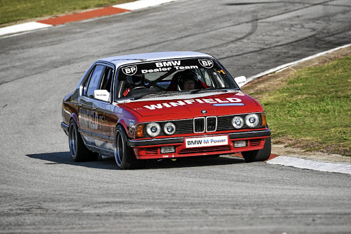 The legendary BMW E23 745i racecar on the Aldo Scribante racetrack. Picture: ROB TILL/BMW SA