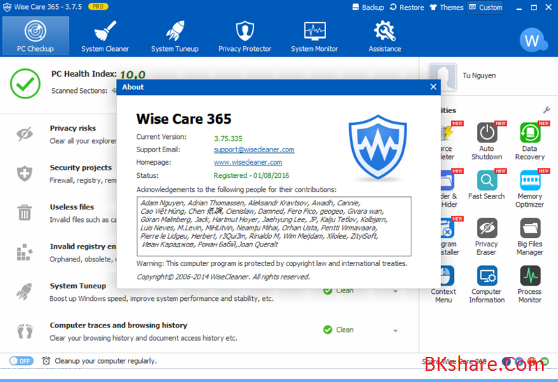 Download Wise Care 365 Pro 3.75 bản quyền miễn phí