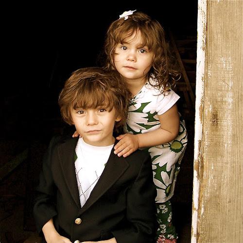 by Lori Lei Herr - Babies & Children Children Candids ( green, white, children, door, hazel eyes, brown hair, spring, sister, child, farm, girl, easter, blue, color, brother, boy, flower )