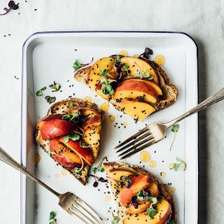 Toast with Peaches, Tahini and Honey.