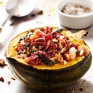 Gluten-Free Wild Rice-Stuffed Acorn Squash with Cranberries and Pancetta Recipe