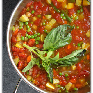Tomato, Chickpea and Vegetable Soup with Basil