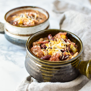 Easy Crockpot Chicken Thigh Taco Chili.