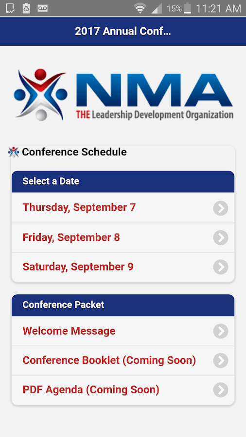 NMA 2017 Annual Conference Schedule- screenshot