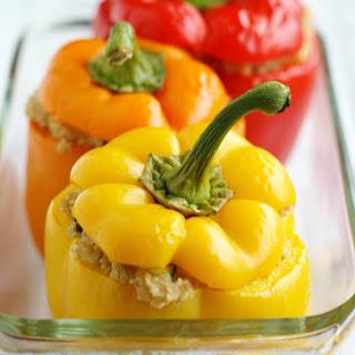 Cheesy Quinoa Stuffed Rainbow Peppers.