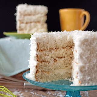 Coconut Cake with Sour Cream Whipped Icing.