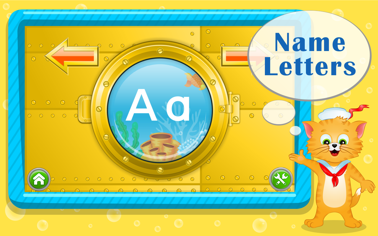Learn abc letters with captain cat android apps on for Kids name letters