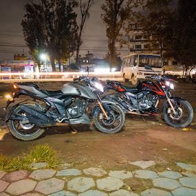 Night Shot by Bikash Bajagain - Transportation Motorcycles ( #, #night_shot, #pratistha_cafe )