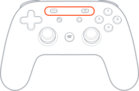 Menu and option buttons, highlighted on the Stadia Controller