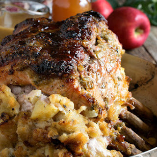 Cider Glazed Bone-in Pork Roast with Apple Stuffing Recipe