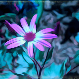 by Mark Wathen - Digital Art Abstract ( watercolor, purple, floers )