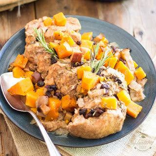 Stewed Pork Loin with Butternut Squash Apple & Raisins