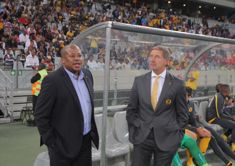 Bobby Motaung and Kaizer Chiefs coach Stuart Baxter during the Absa Premiership match between Ajax Cape Town and Kaizer Chiefs at Cape Town Stadium on November 05, 2013 in Cape Town, South Africa.