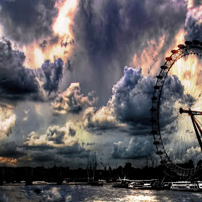 London Eye by Robert Little - Buildings & Architecture Public & Historical ( stormy, london, cityscape, architecture, eye )
