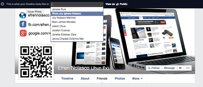 View facebook profile as different person step 3