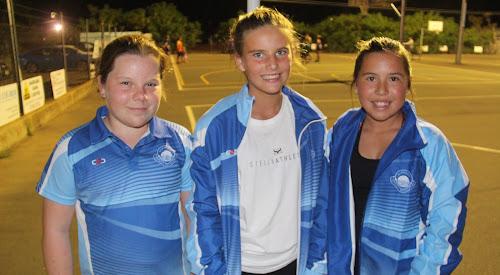 Narrabri Netball Association under-12 representative players Lucinda Coffey, Clare Jensen and Halle Rooney.