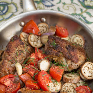 Pan Roasted Pork Tenderloin w Fairy Tale Eggplant & Tomatoes.