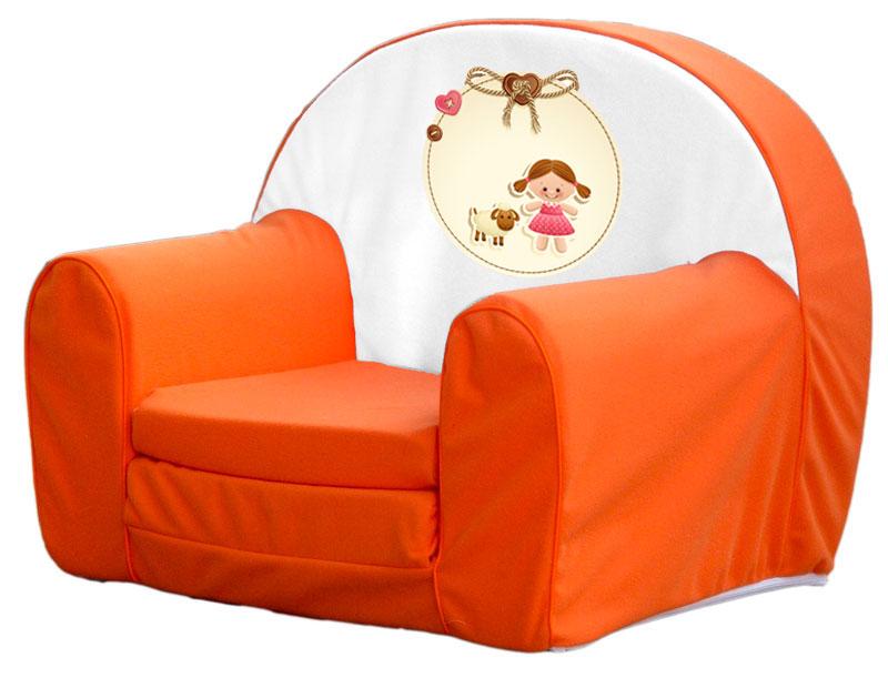 Kislány barival, narancs játék szivacs fotel